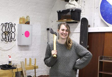 Amy Scott-Pillow at her studio in The Arches. Image courtesy of a space arts.