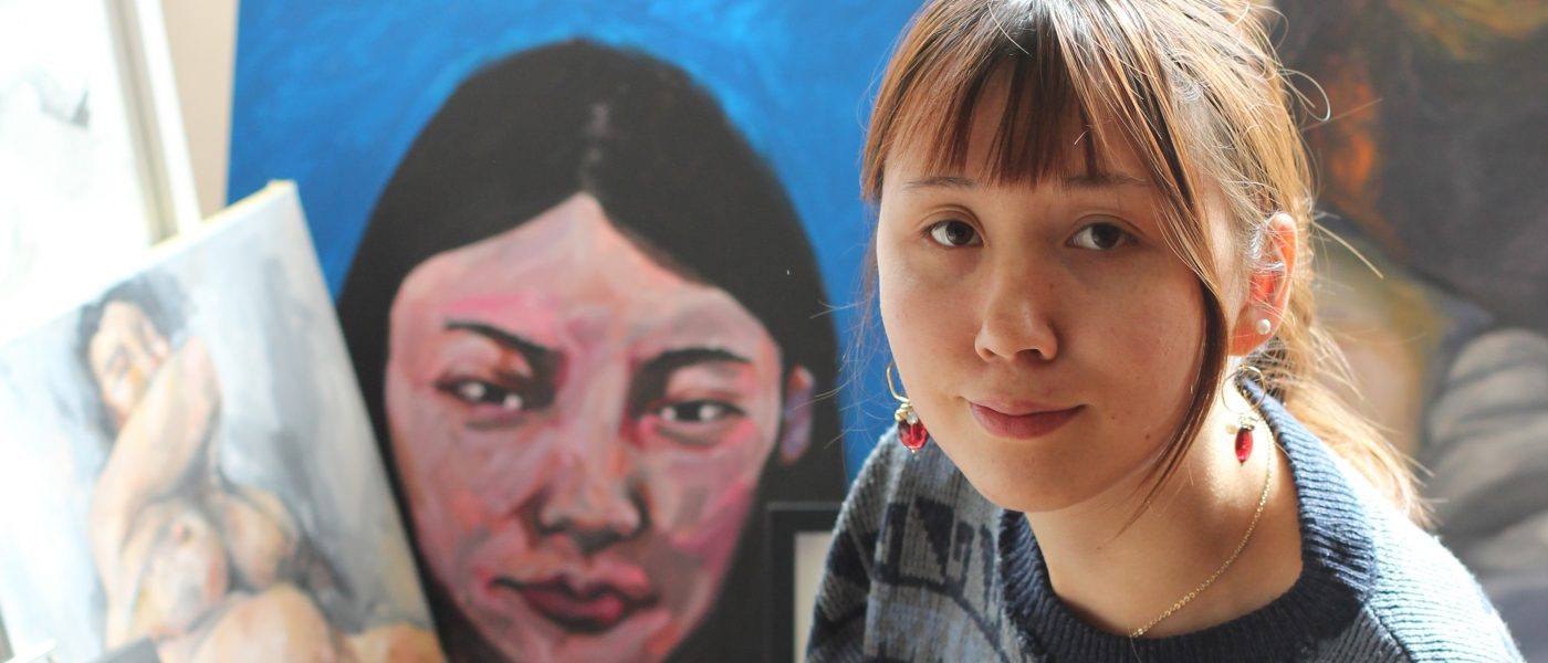 Moylin Chong, pictured in her studio. Image courtesy of a space arts.