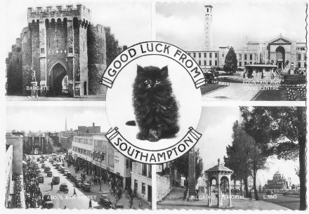 Archive postcard showing Southampton landmarks